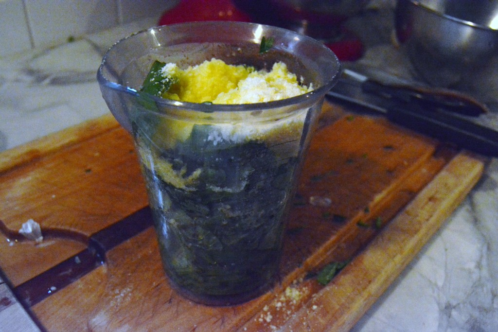 add ingredients for pesto