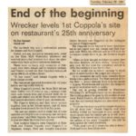 Wrecker Levels First Coppola's Site on Restaurant's 25th Anniversary